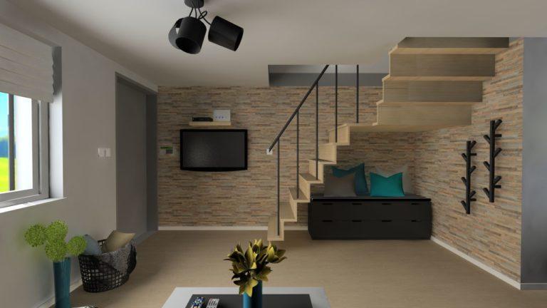 projekt dekoracji wnętrza w mieszkaniu na wynajem